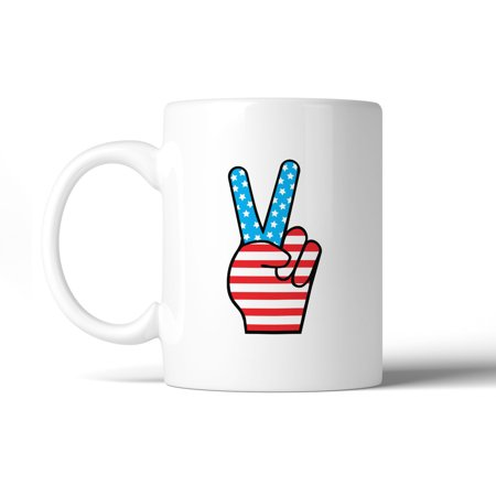 American Flag Peace Figure Sign Unique Design Mug For 4th Of - Fourth Of July Signs