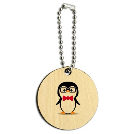 Cartoon Penguin with Bow Tie and Glasses Wood Wooden Round Keychain Key Chain Ring ()