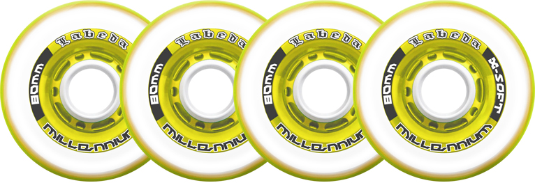 Labeda Inline Roller Hockey Skate Wheels Millennium Gripper Yellow 72mm SET OF 4 by