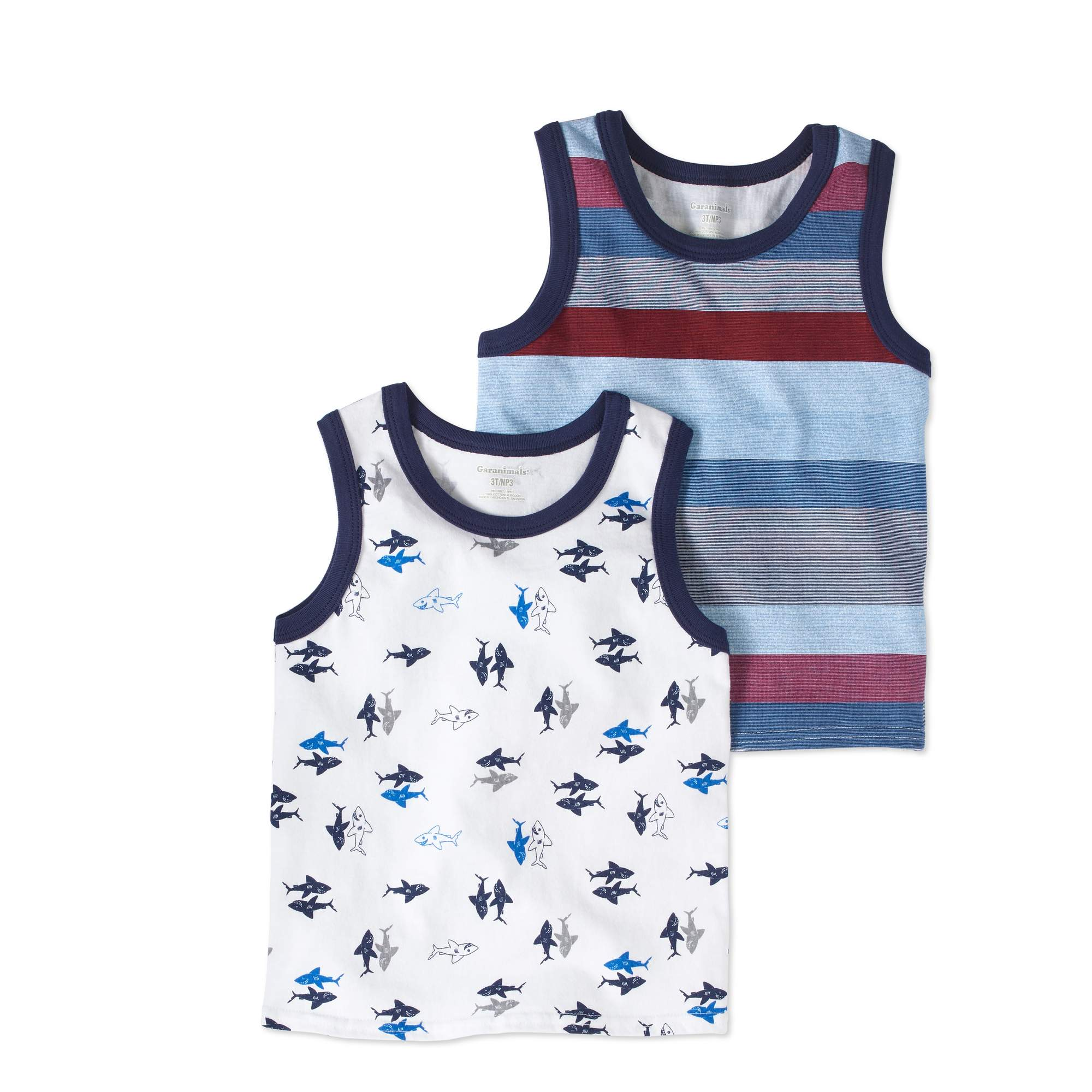 Garanimals Toddler Boys' Printed Jersey Tank Tops, 2-Pack