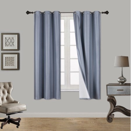 "(SSS) 2-PC Slate Blue Solid Blackout Room Darkening Panel Curtain Set, Two (2) Window Treatments of 37"" Wide x 63"" Length Each Panel"