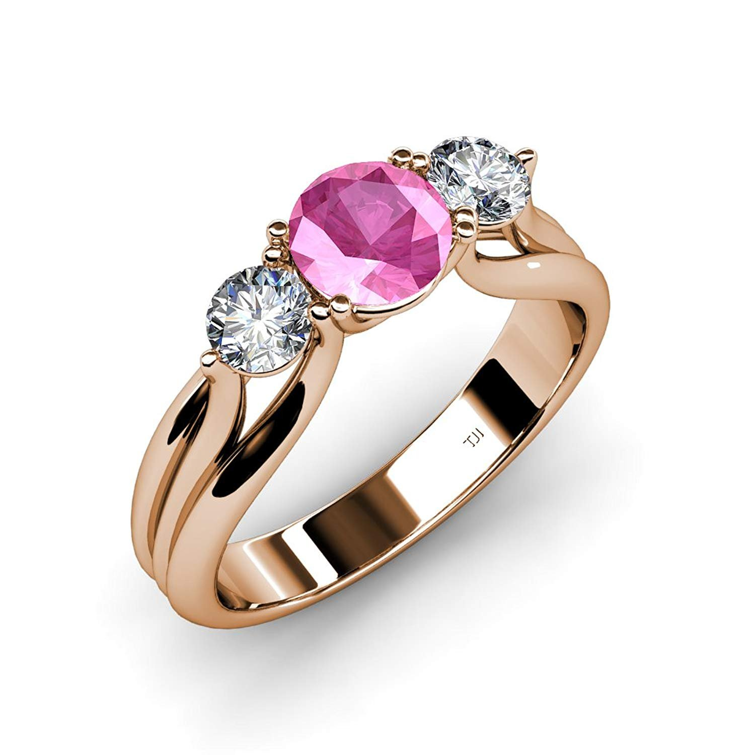 Pink Sapphire and Diamond Three Stone Ring with Thick Shank 1.44 ct tw in 14K White Gold.size 6.5 by TriJewels