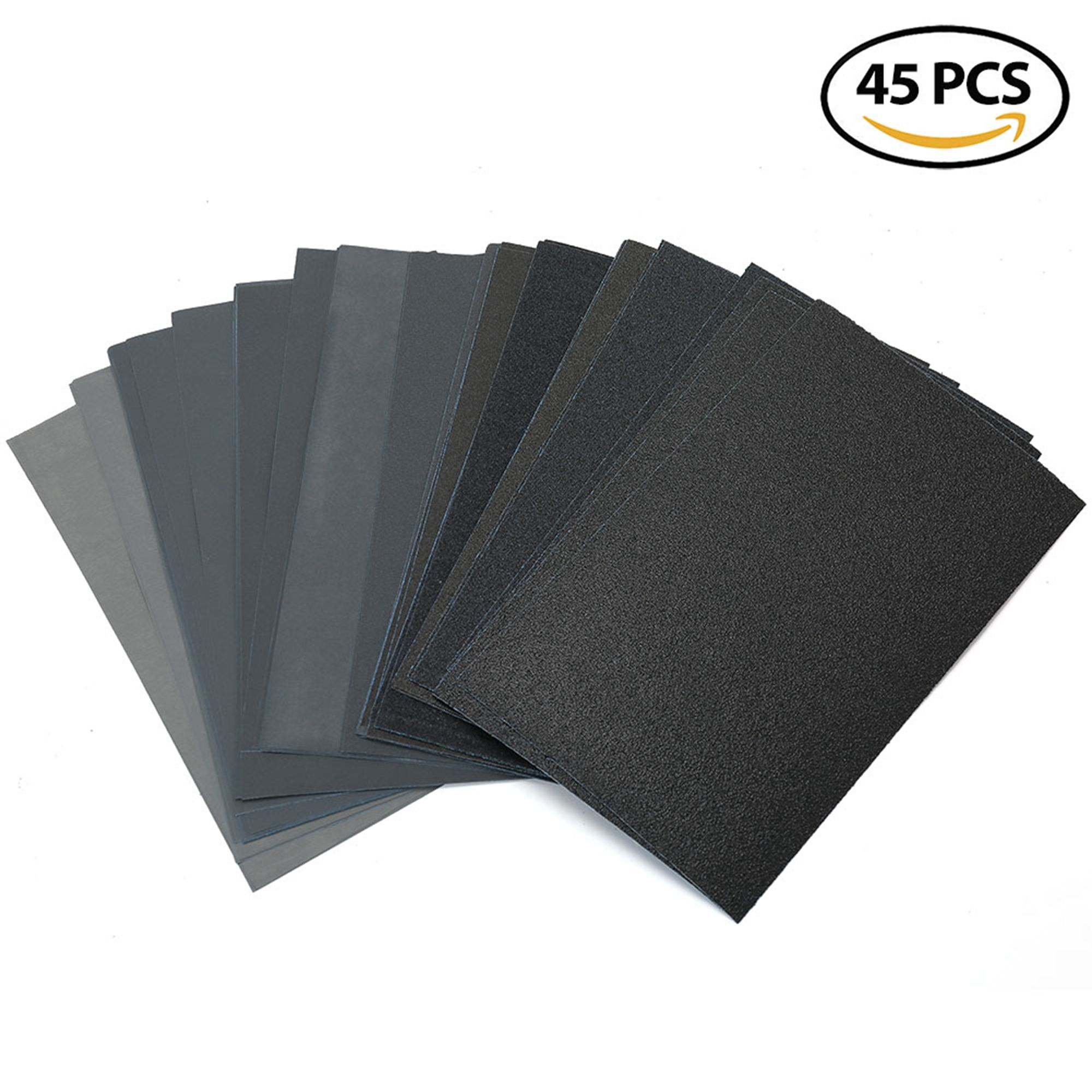 "80 to 3000 Grit Dry Wet Sandpaper Assortment - 9 x 5.5"" Silicon Carbide Sandpaper Sheets for Metal Sanding, Automotive Polishing, Wood Furniture, Wood Turing Finishing, Pack of 45"