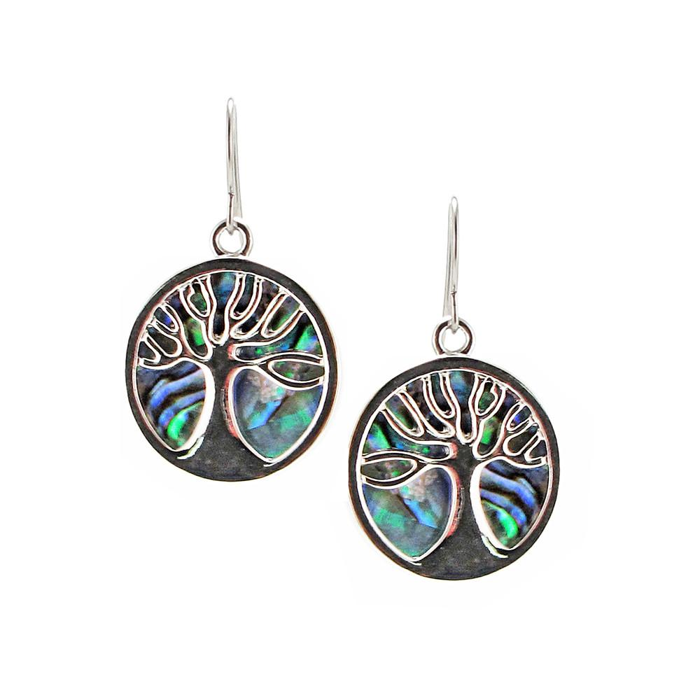 Storrs Wild Pearle Handmade Abalone Shell Dangle Earrings Tree of Life