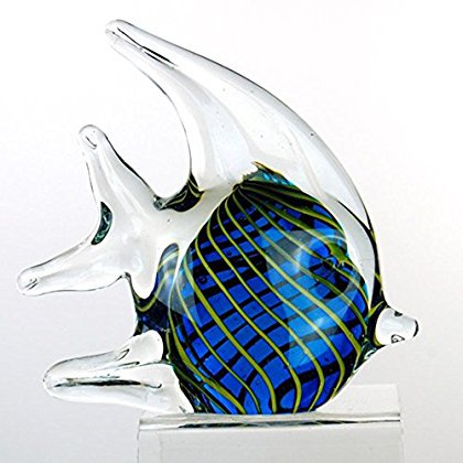 StealStreet ZBD-557 4.5' Angel Fish Glass Blown Decorative Figurine, Blue and Green
