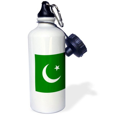 3dRose Flag of Pakistan - Pakistani dark green with white crescent moon and star Islamic country Asia world, Sports Water Bottle, 21oz