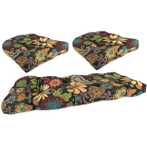 Jordan Manufacturing Outdoor Patio 3 Piece Cushion Wicker Set