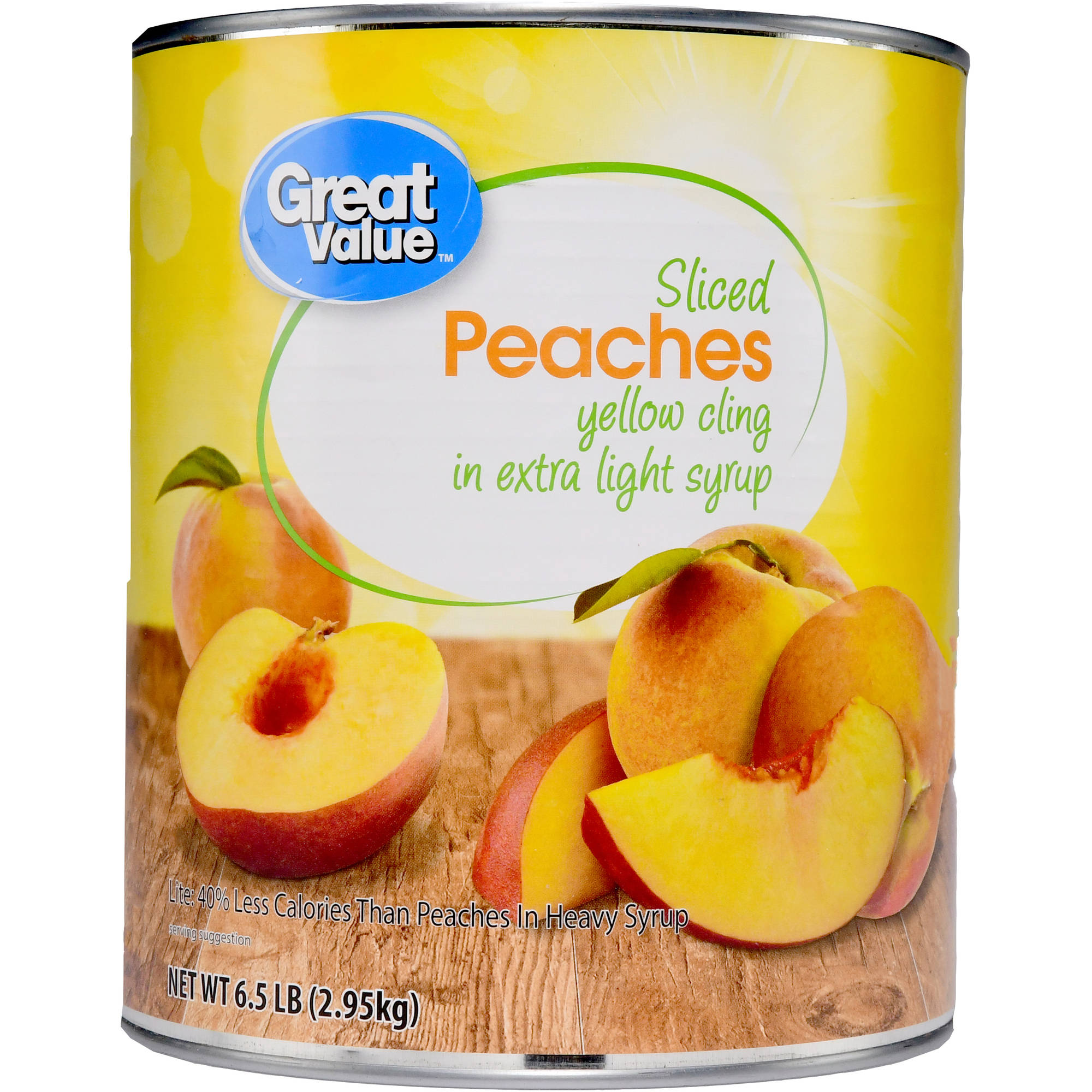 Great Value Sliced Yellow Cling Peaches in Extra Light Syrup, 6.5 lbs