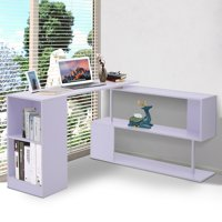 Modern L Shaped Rotating Computer Desk with Shelves for Office Bedroom Dorm