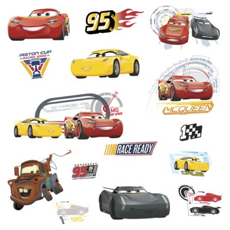 Disney CARS 3 MOVIE WALL DECALS Lightning McQueen Mater Cruz Stickers Room