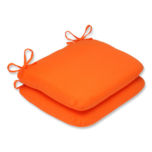 Pillow Perfect Outdoor/ Indoor Sundeck Orange Rounded Corners Seat Cushion (Set of 2)