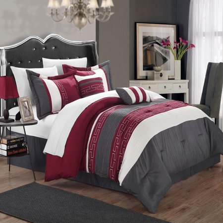 Carlton Burgundy, Grey & Off White 6 Piece Comforter Bed In A Bag
