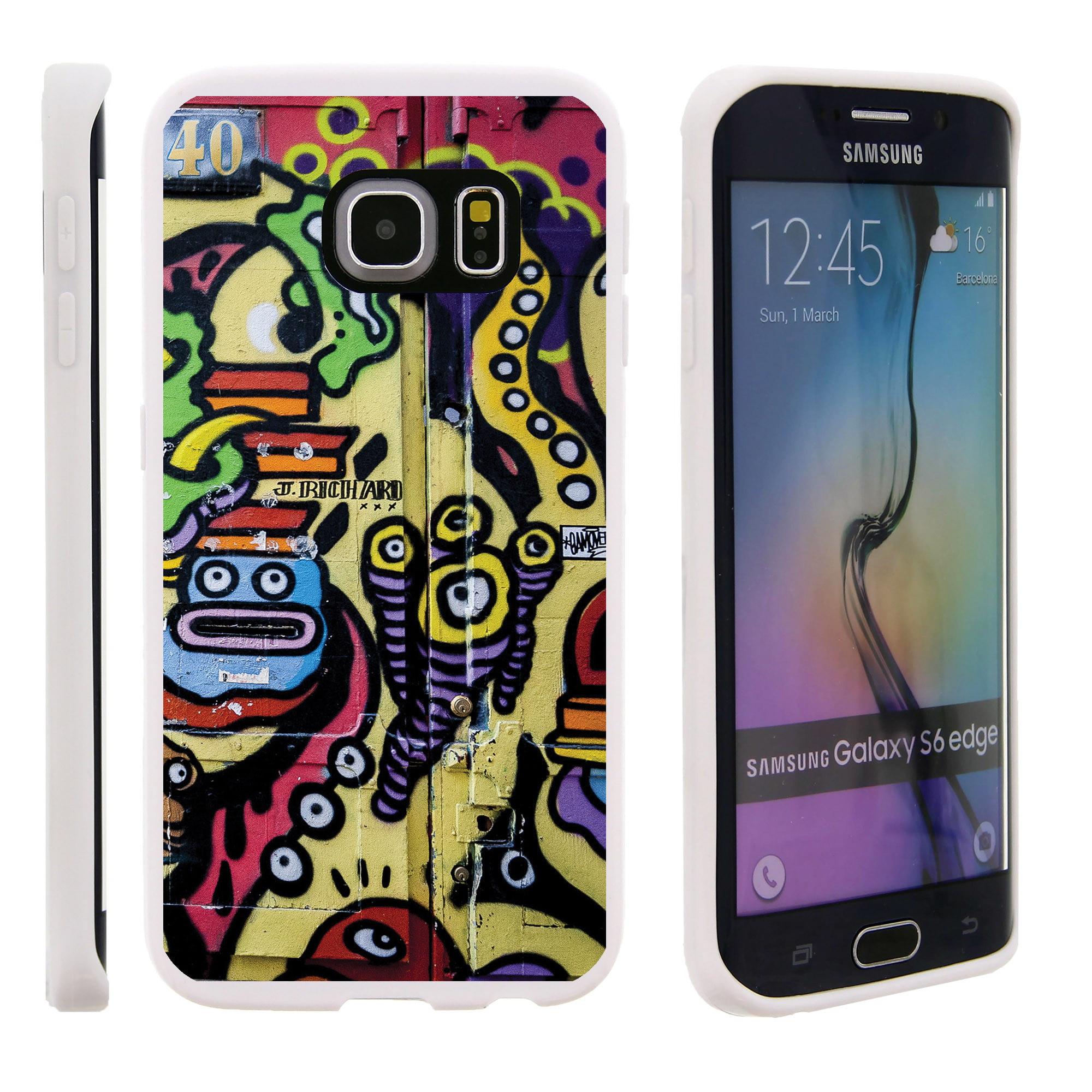 Samsung Galaxy S6 Edge G925, Flexible Case [FLEX FORCE] Slim Durable TPU Sleek Bumper with Unique Designs - Faces on Walls