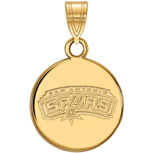 LogoArt NBA San Antonio Spurs 14kt Gold-Plated Sterling Silver Small Disc Pendant