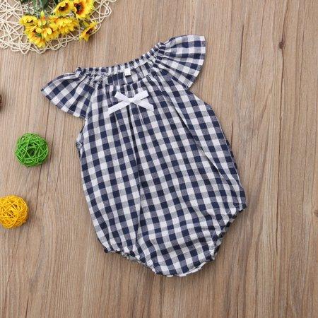 Newborn Baby Girls Checks Romper Bodysuit Jumpsuit Sunsuit - Check Romper