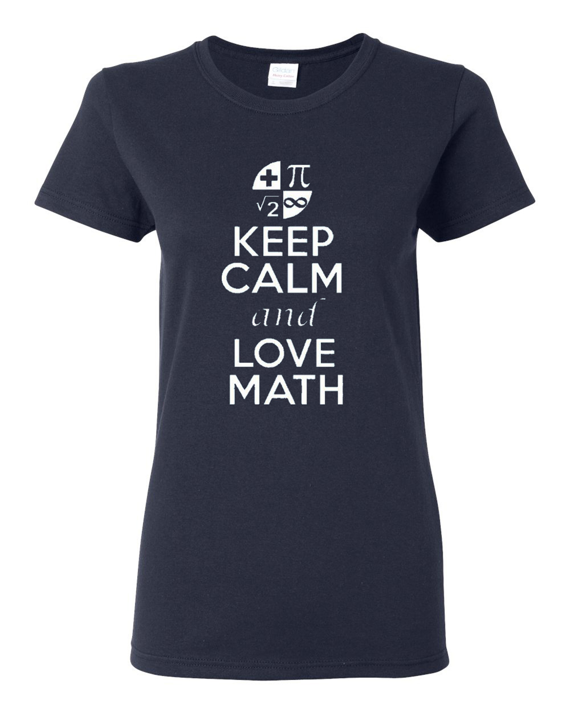 Ladies New Keep Calm and Love Math T-Shirt Tee