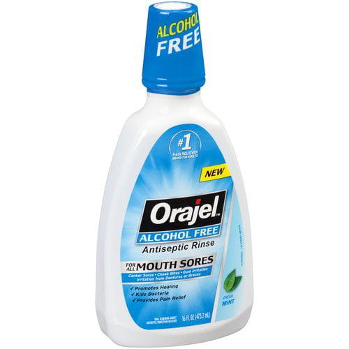 Orajel Fresh Mint Alcohol Free Antiseptic Rinse, 16 fl oz