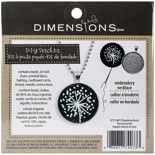 "Round Metal Bezel Jewelry Embroidery Kit, 1.25"" Round Dandelion Pattern"