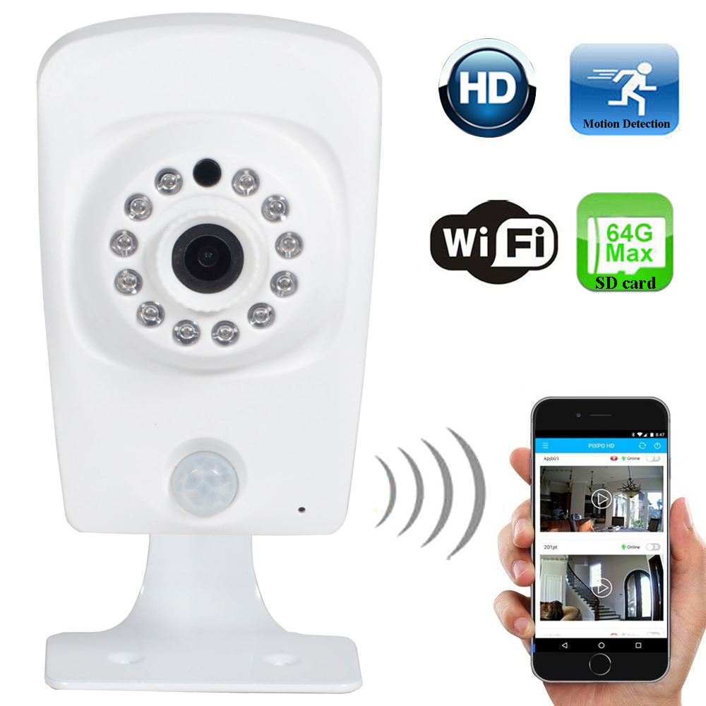 WAIPC200W Pixpo 720P HD Baby Monitor Motion Detection Audio IP Security Camera Wireless Wifi Remote View Night Vision SD Card BWW