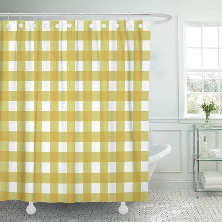 KSADK Red Breakfast Yellow Checkered Pattern Gingham Plaid Vintage Check Classic Shower Curtain Bathroom Curtain 66x72 inch ()