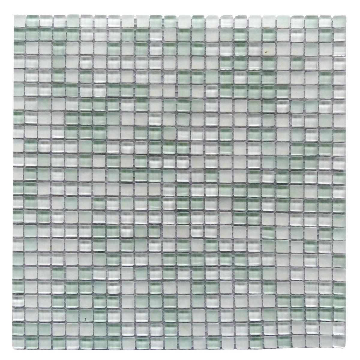 "Abolos- Petite 0.38"" x 0.38"" Glass Mosaic Tile in Light Green (1 SHEET, 1 SQFT)"