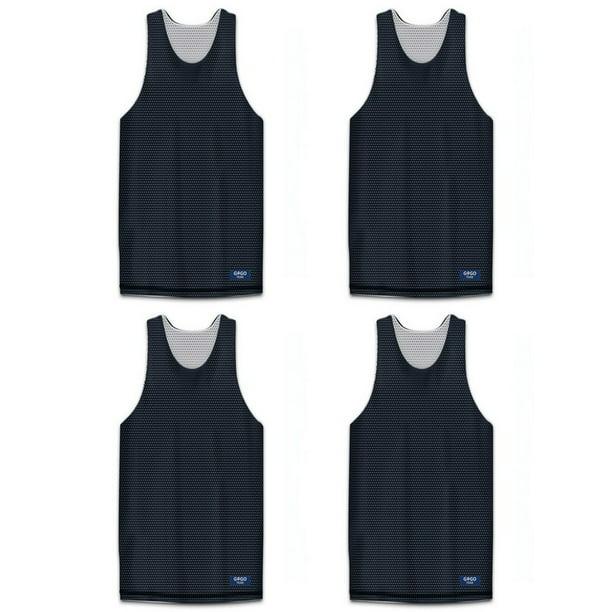 Gogo Team Gogo Team 4 Pack Reversible Basketball Jerseys Lacrosse Jersey Mesh Tank Black White M Walmart Com Walmart Com