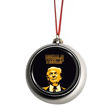 Donald Trump United States President Ornaments Silver Bauble Christmas Ornament Ball Tree