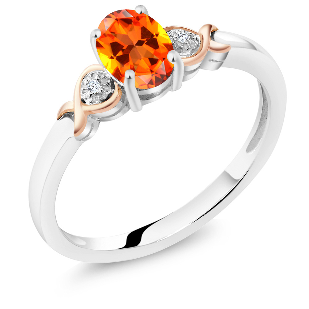 925 Sterling Silver and 10K Rose Gold Diamond Accent Ring Natural Poppy Color Topaz Cut by Swarovski (1.00 cttw)