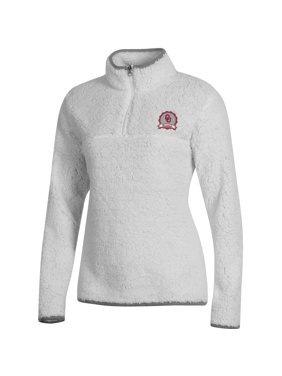 Women's Russell Athletic White Oklahoma Sooners Sherpa Quarter-Zip Pullover Jacket
