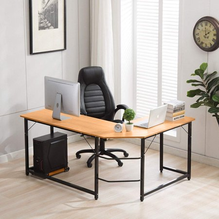 Ktaxon 90° L-Shaped Desk Corner Latop Computer PC Study Office Table Home Workstation Wood Apollo Corner Computer