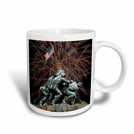 Fireworks Mug - 3dRose Marine Corp Memorial with Fireworks, Ceramic Mug, 15-ounce