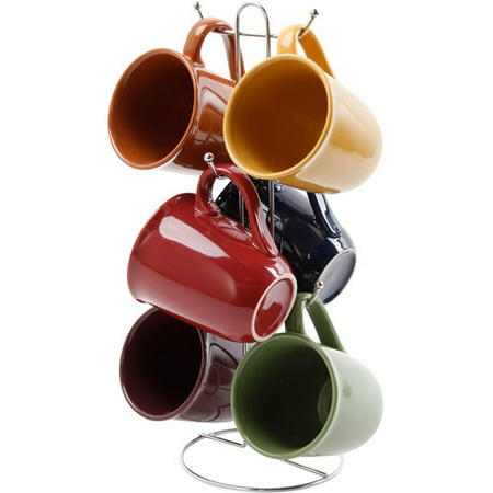 Gibson Everyday Contempo Hues 15-Ounce Mug Set with Rack, Set of 6