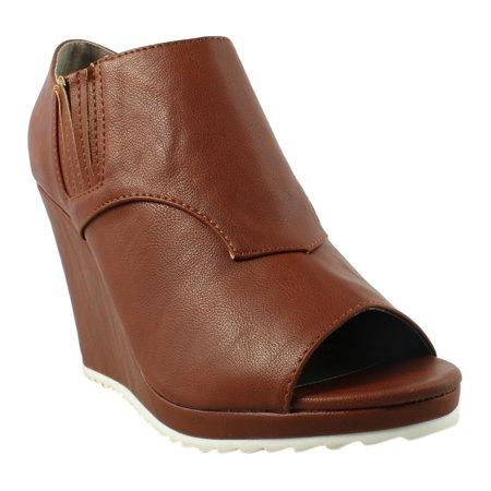 Womens Cognac Synthetic Leather (Michael Antonio Womens Gomez-221 Cognac Open Toe Heels Size 6.5 )