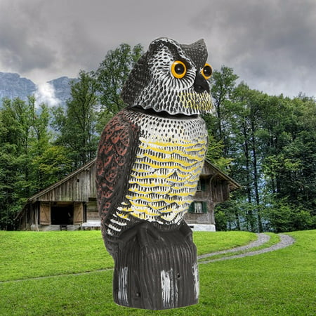 Owl Scarecrow Rotating Head Fake  Hunting Decoy Bird Scare Sound & Shadow Control Pest Repellent Garden Protector (Owl Scare Birds)