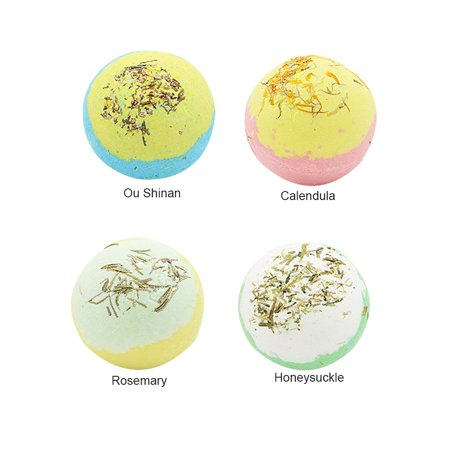 4 PCS Bath Salt Ball With Dried Flower Essential Oil Bathing Ball with Box Multiple Bubble Skin Moisturizing Exfoliating Bathing Supplies - image 1 of 3