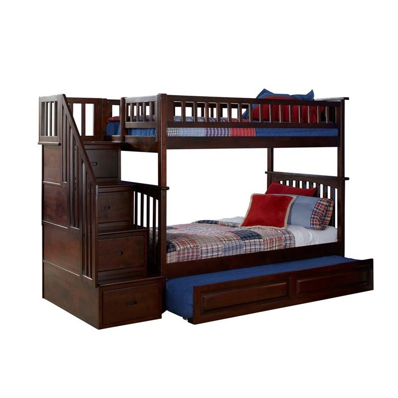 Leo Amp Lacey Twin Over Twin Staircase Trundle Bunk Bed
