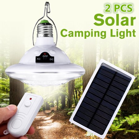 2X 22LED 2In1 Solar Power Tent Camp Light Bulb LED Lantern with Solar  Panel, for Camping Hiking Fishing Emergency Lights,Remote Control