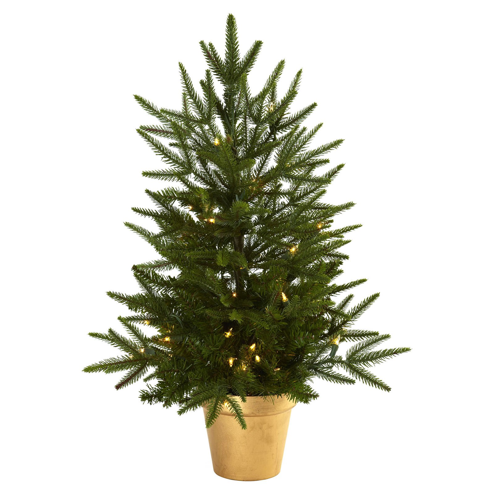 2.5 ft. Christmas Tree with Golden Planter & Clear Lights