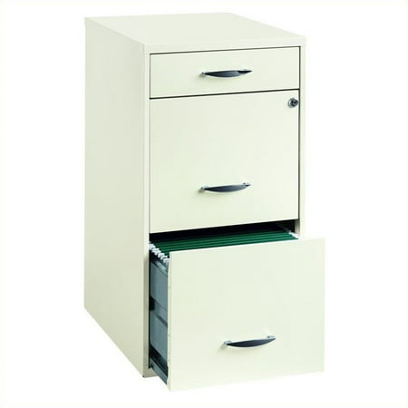 SOHO 18-inch Deep 3-Drawer Organizer Pencil/File/File, Pearl White (Deep Drawer)