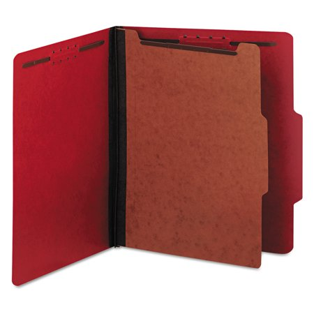 - Universal Pressboard Classification Folders, Letter, Four-Section, Ruby Red, 10/Box -UNV10203