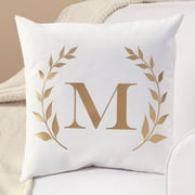 Personalized Gold Initial Throw Pillow