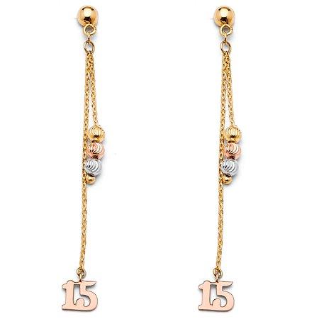 Ioka - 14K Tri Color Gold 15 Anos Quinceanera Dangle Hanging Drop Shepherds Hook Earrings