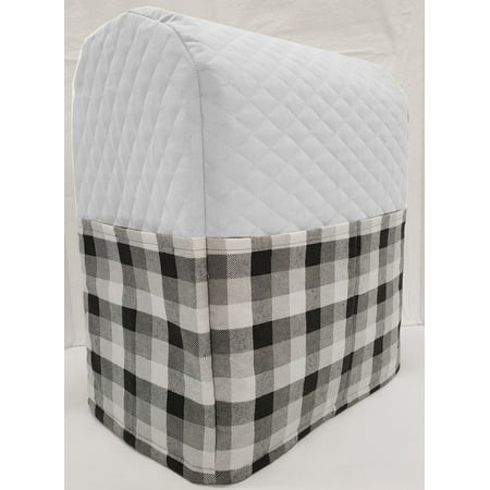 Black & Gray Buffalo Checked Cover Compatible with Sunbeam Heritage Series 4.6qt Mixmaster (White)