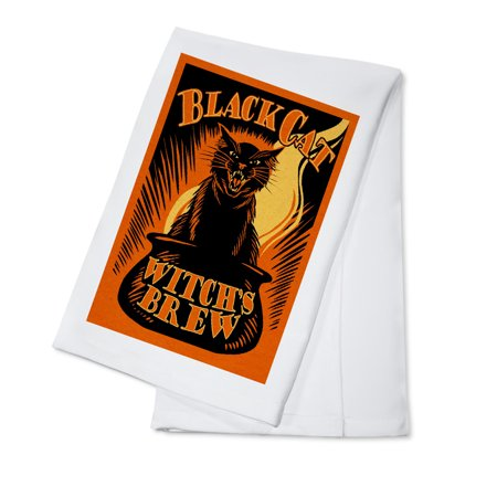 Halloween - Black Cat Witch's Brew - Lantern Press Artwork (100% Cotton Kitchen Towel) - Easy Potluck Dishes Halloween