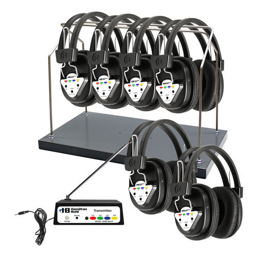 HamiltonBuhl Wireless 6 Person Listening Center with Multi-Frequency Transmitter, Wireless Headphones and Rack