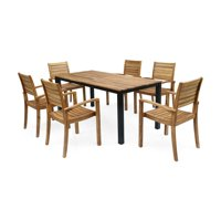 Christopher Knight Home Barstow Outdoor 6-Seater Rectangular Acacia Wood Dining Set by