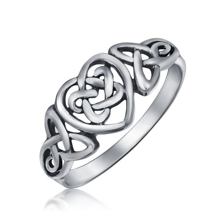 BFF Irish Love Knots Infinity Heart Celtic Promise Ring For Teen For Women Oxidized 925 Sterling Silver 1MM
