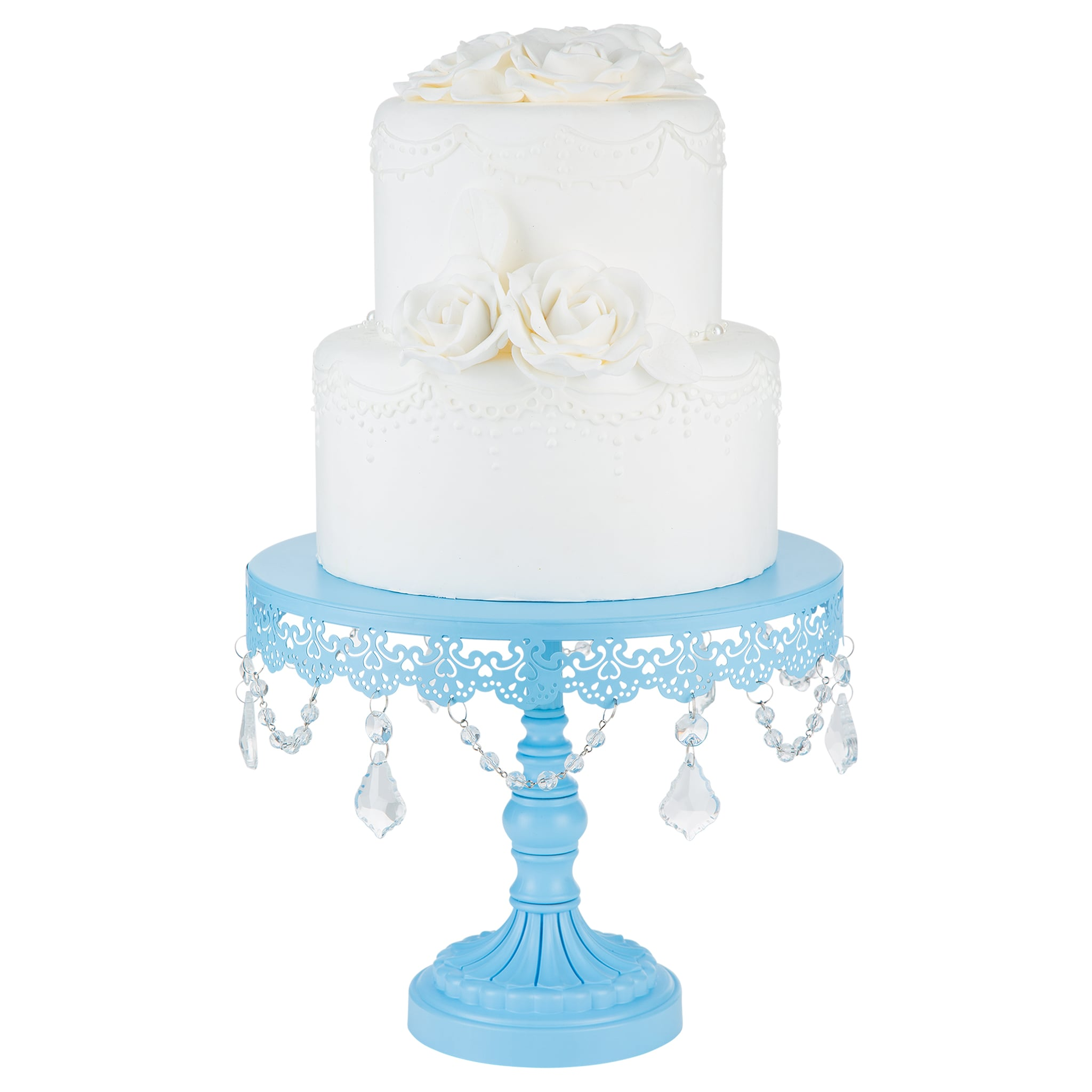 Amalfi Decor 10-Inch Crystal Draped Round Metal Cake Stand | Sophia ...