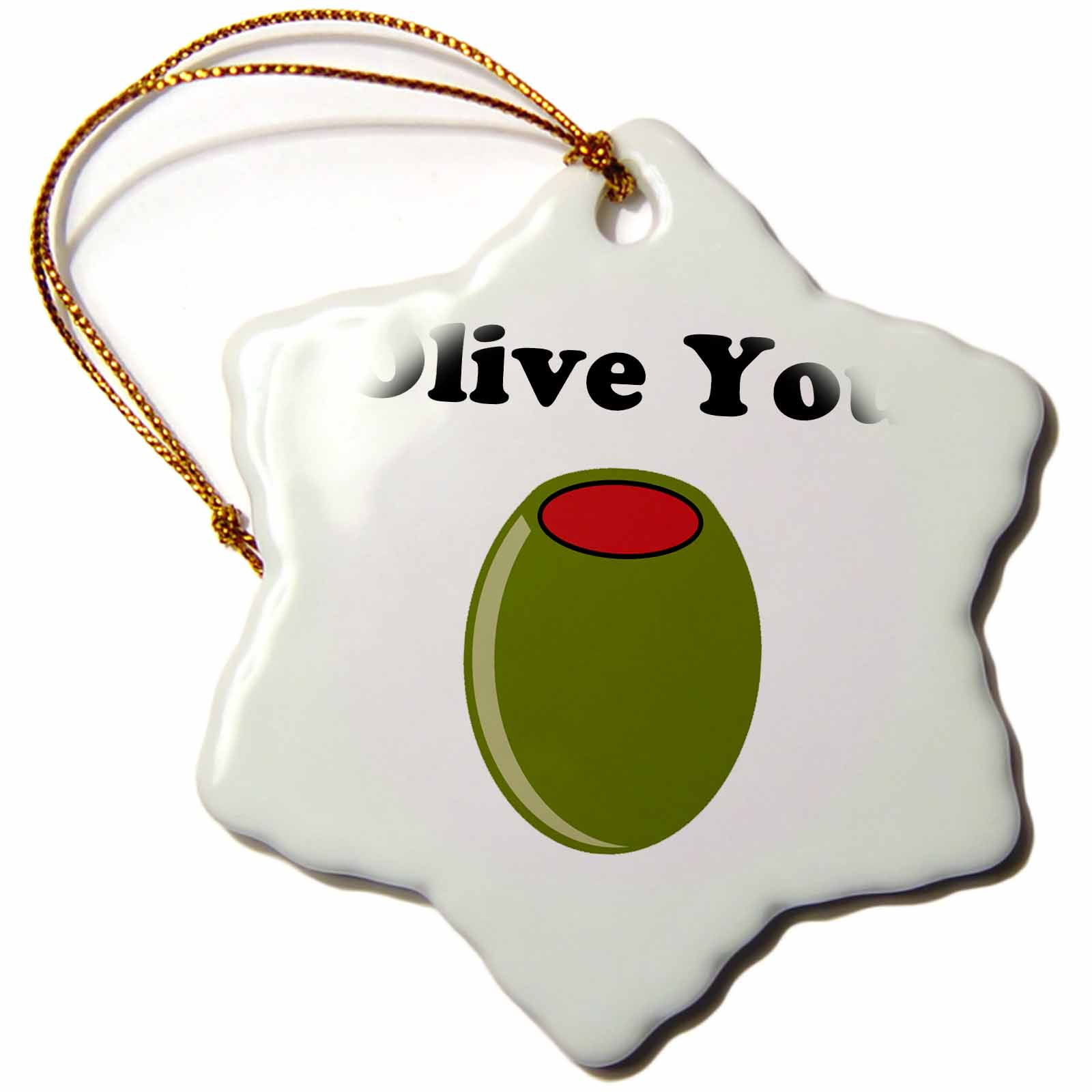 3dRose Olive you., Snowflake Ornament, Porcelain, 3-inch
