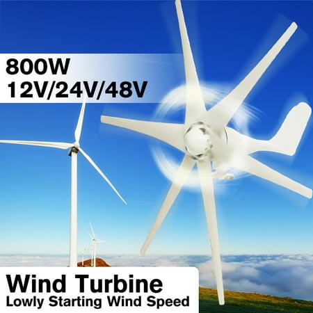 Electric Wind Turbine Generator 200W 3 Blades(with controller) 6 Nylon Fiber Blades (Excluding Controller) Max 800W 12V/24V/48V Windmill Power Green Energy Generating (Best Marine Wind Generator)